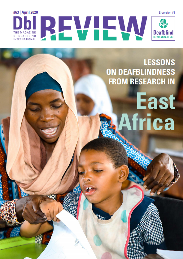 The cover of the 63 issue of the DBI Review magazine. Text on the cover: lessons of the deafblindness from the research in South Africa